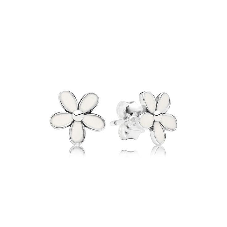Daisy White Enamel & Silver Stud Earrings - PANDORA - PANDORA Aus