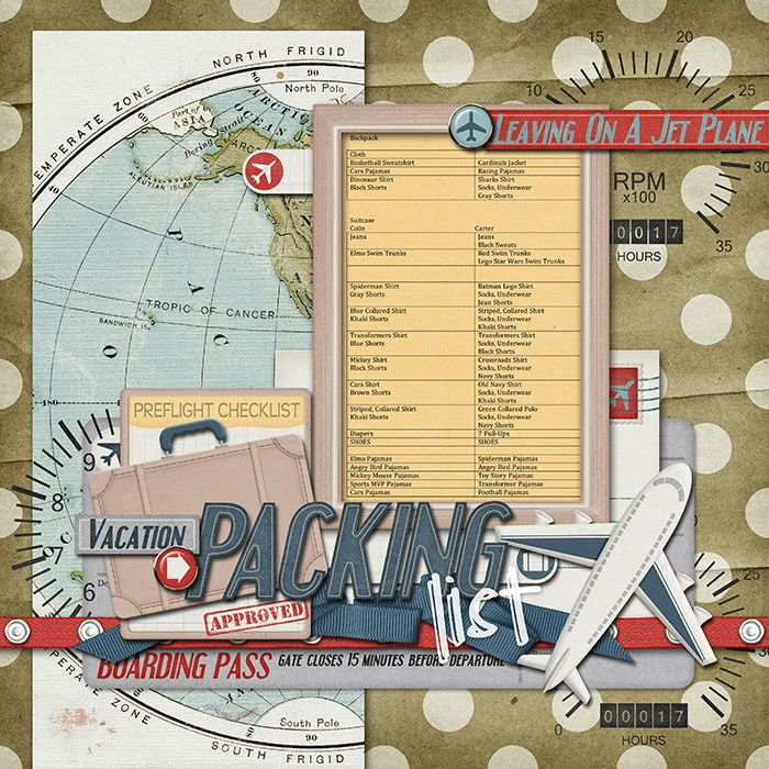 Leaving on a Jet Plane.  Scrapbook Page.
