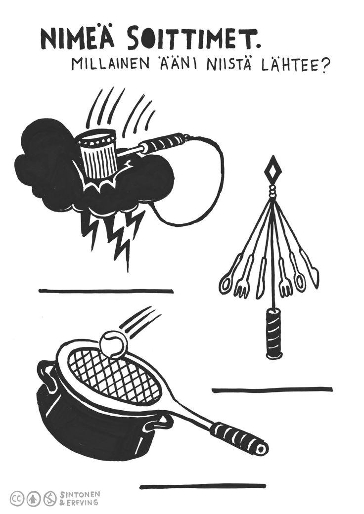 Kortti 7. Kuvassa on mielikuvituksellisia soittimia. Jos niitä voisi oikeasti soittaa, miltä ne kuulostaisivat? // Tekijät: Sara Sintonen & Emilia Erfving #mediakasvatus #medialukutaito #monilukutaito #alakoulu #alkuopetus #musiikki #kuvataide #audiovisuaalinen #alkuopetus #moniste #ilmainen #oppimateriaali #suomenkielinen #creativecommons