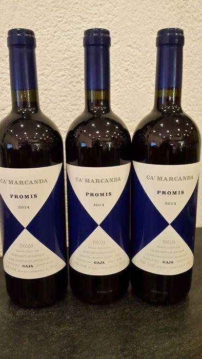 2014 Gaja Ca ' Marcanda Promis-3 flessen (75cl)  (RP 93)Gaja Ca'Marcanda PromisToscane-ItaliëKlimaat/TerroirDe druiven voor deze wijn zijn afkomstig uit de Maremma derelatief koel kustgebied westen van deChianti-gebied. De bodems zijn voornamelijk gemaakt van terre brunerijk aan klei en zand.VinificatieElk zijn de druiven gefermenteerd in 15 dagenroestvast stalen tanks. Na dit rijpt de wijn tijdens 12maanden in oude rijpingsprocédé. De wijn is dangemengd en gebotteld en zal rijpen in de fles…