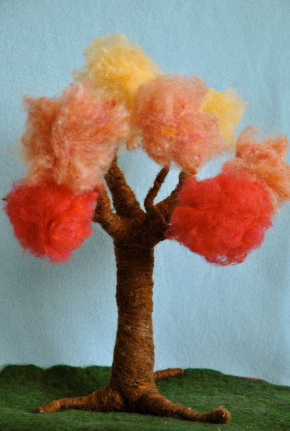 Waldorf inspired needle felted Tree Four Seasons made by MagicWool