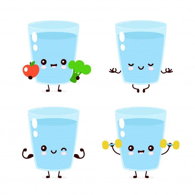 Cute Smiling Happy Water Glass Set Vaso De Agua Dibujos De Botellas Botellas De Agua