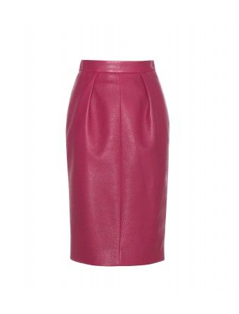 """The pencil skirt is reimagined with Miu Miu's striking raspberry-pink leather style, with tailored darts ensuring a streamlined, silhouette-sculpting fit. Show 'em you mean business with a sharp white shirt, or team it with slogan tees for a dressed-down weekend look."""