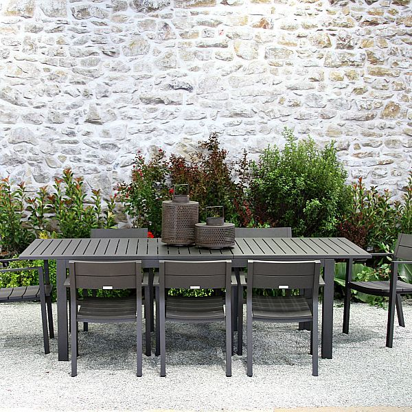 Our Ventura ext. table is made from a sleek metal that adds a refinedlook to any outdoor space. With seating up to 8, mix and match with our range of premium teak or all-weather wicker dining chairs to complete the look. Assembled in the USA.