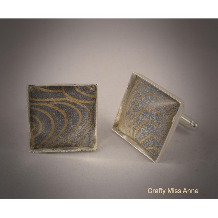 Elegant grey and gold wave pattern cufflinks  Pin a Day for 16/10