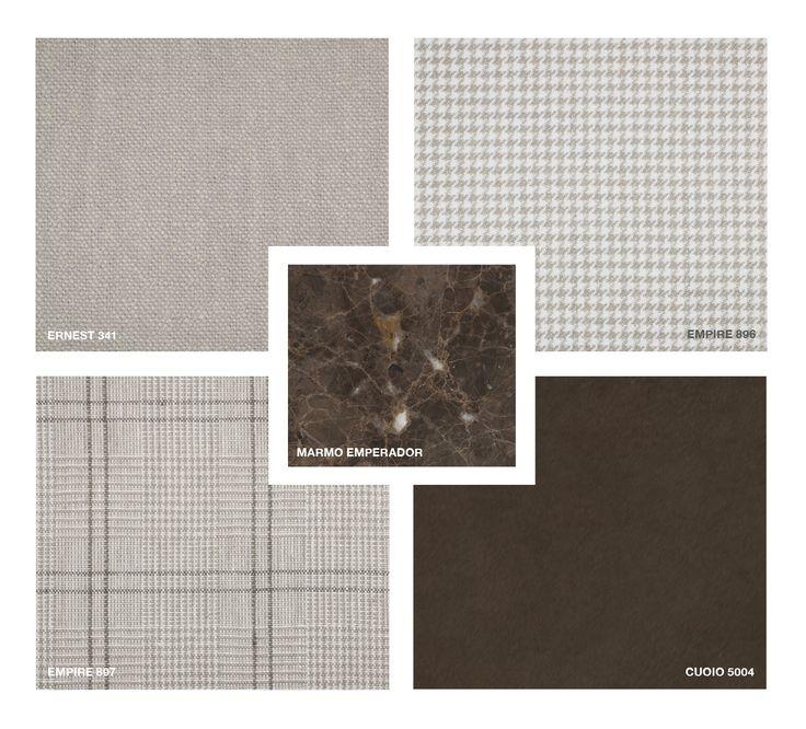 Marble: Emperador Hide Leather: Cuoio 5004 Fabrics: Ernest 341 and Empire 896, 897