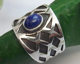 LAPI Lazuli Bague Lapis Badachsan, Afghanistan en argent Sterling anneau de Birthstone bague Handcut Semi pierre précieuse