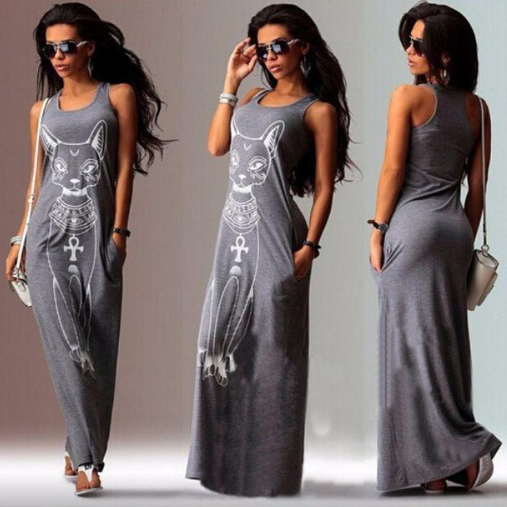 2016 Dress Europe Print Sleeveless Cat Women Dress Hot Sale Fashion O-neck Ankle-length Summer Dresses Casual