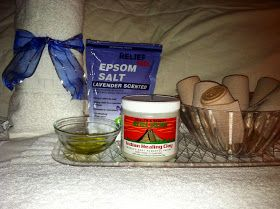 DIY Clay Body Wrap(see link) NEED:  1C Aztec Indian Healing clay (vitamin shoppe) 1C lavendar epson salt (aroma).. 15 - 20 ace bandages.. 2t Olive Oil.. 1Cup of water.... Leave on 45 - 50 mins......Shower