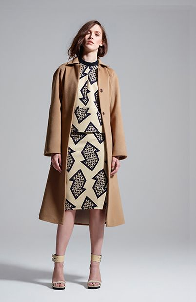 with trainers tie coat, cryptic polo top & cryptic pencil skirt #manningcartell #gamesofscale #AW15