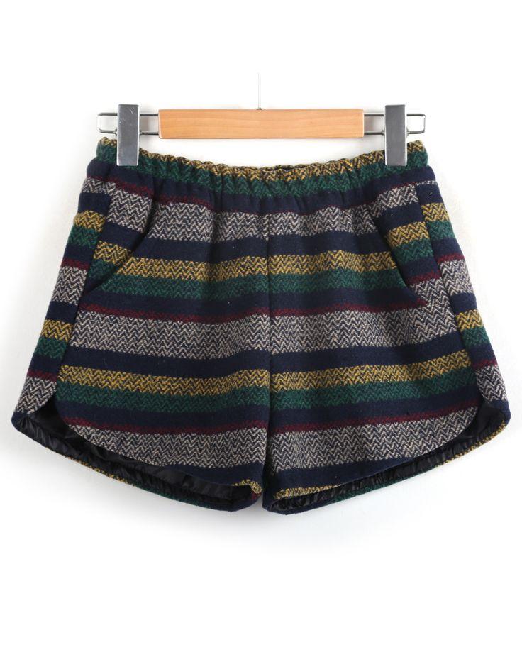 Blue Elastic Waist Striped Woolen Shorts CA$22.21