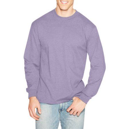 Hanes Men's Beefy Long Sleeve T-shirt, Size: Small, Purple