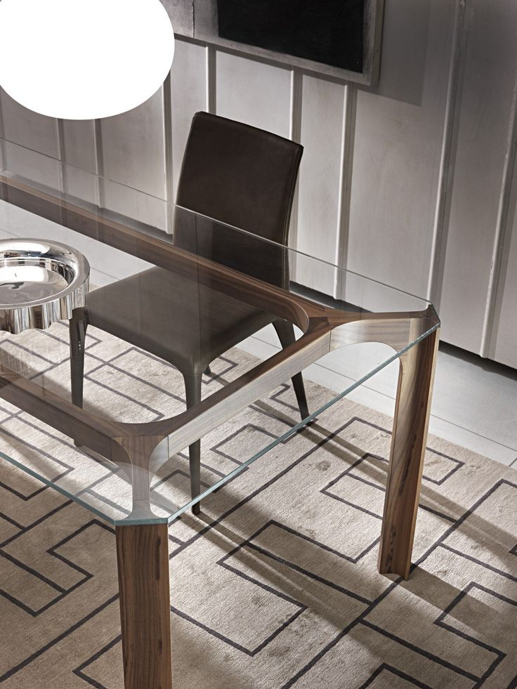 Rectangular Wood And Glass Table Young Pacini