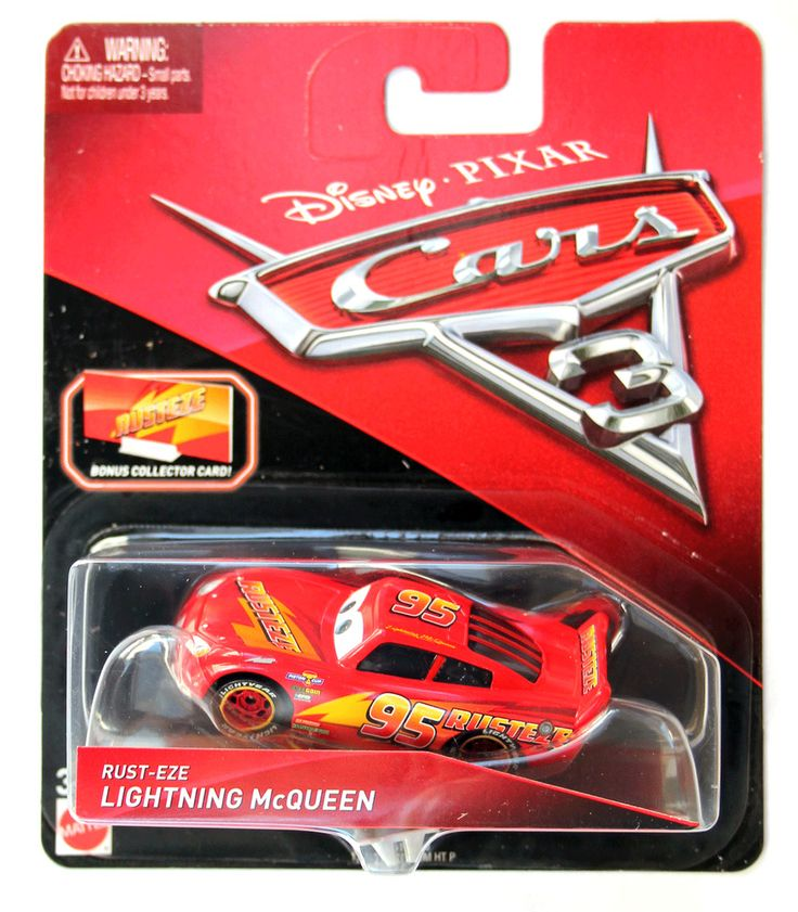 DISNEY PIXAR CARS 3 RUST EZE LIGHTNING MCQUEEN WITH COLLECTOR CARD AND STAND  #Mattel