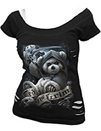 New Spiral Womens - Ted The Grim - Teddy Bear - 2in1 White Ripped Top Black online. Find the perfect Agiato Apparel Tops-Tees from top store. Sku UTNV91905YTNI69844