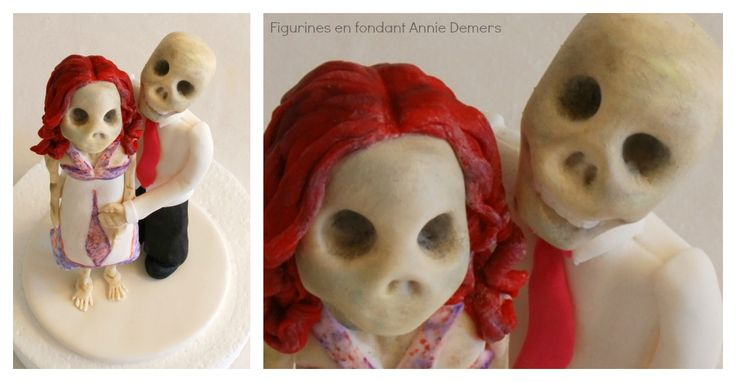 original skeleton wedding cake topper/ figurines de gâteau de mariage original en squelettes https://www.facebook.com/figurinesanniedemers