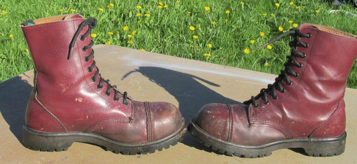 Men's Getta Grip Steel Cap Toe Burgandy Leather 10  Hole England Boots ~ Size 8 in Clothing, Shoes & Accessories, Men's Shoes, Boots | eBay