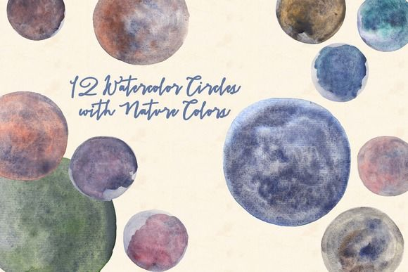 Watercolor Circles with Nature Color by Anissa Anwar on @creativemarket