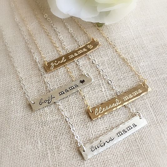 Personalized Mama Bar Necklaces in gold filled or sterling silver.  What mama are you?