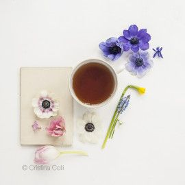 Tea & Flowers #1 - Tea Time collection - Modern still life - Limited Edition Giclée print © Cristina Colli