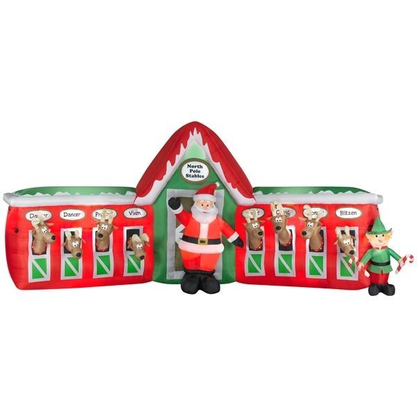 13 Foot X 6Ft Gemmy Lighted Airblown Inflatable Santa Reindeer Stable