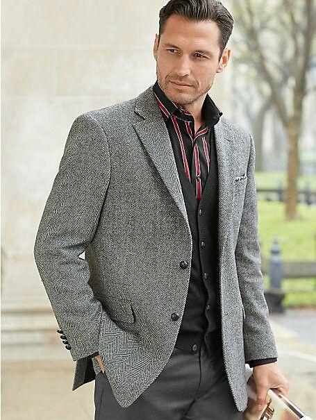 Black & White Herringbone Pure Wool Sport Coat PF F15 | Paul ...