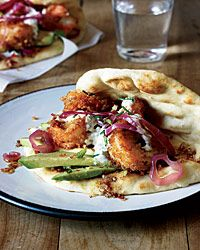Fried Shrimp Flatbreads with Spicy Cardamom Sauce Recipe on Food & Wine