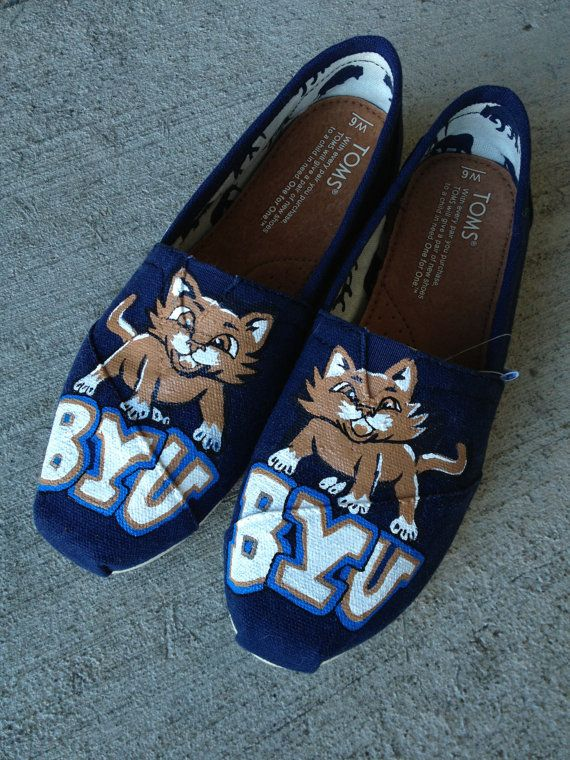 BYU college hand painted toms by InSensDen on Etsy    #BYU #LDS #BYUsports