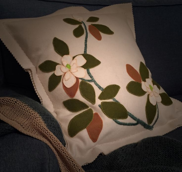 Blooming for Mothers Day @birdiebrown new Magnolia wool applique kit available soon a@ birdiebrown.co.nz #embroidery #applique