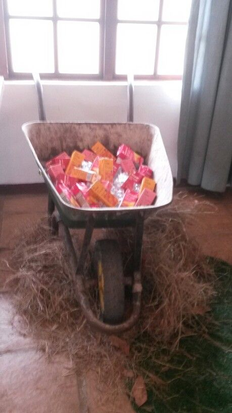 Juice boxes in wheelbarrow