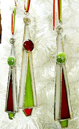 Whimsical Red Green and White Stained Glass Christmas by miloglass, $23.00 could fuse them too