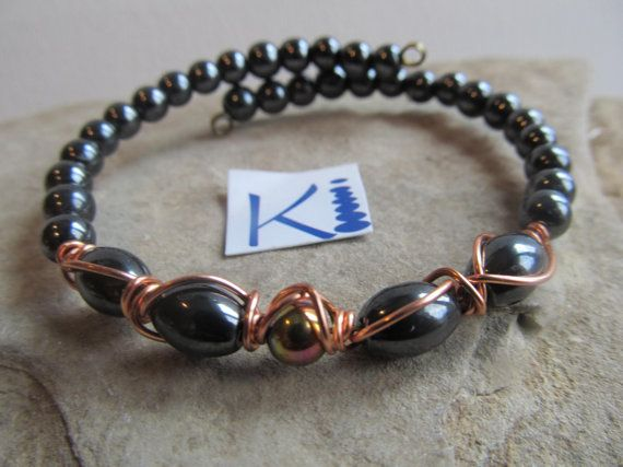 Magnetic Hematite Copper Bracelet Easy on by KiCrystalCreations