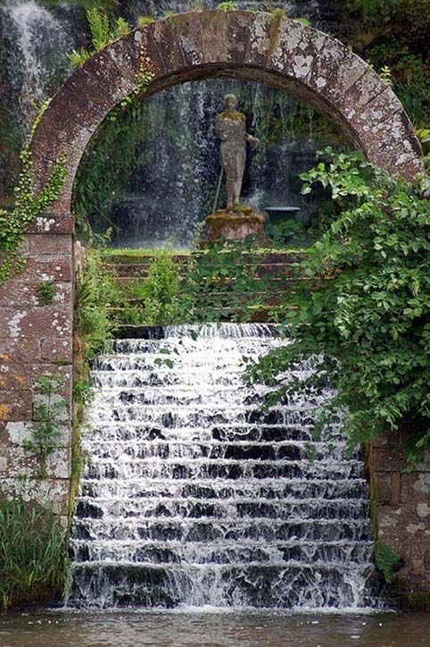 Beautiful Places...Secret Garden Waterfall next to the Corby Castle, England, photo by Andrew Pescod via Flickr.