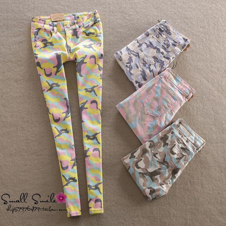 Специальный 2014 лето новый тонкий тонкий хип камуфляжные штаны случайные джинсы ноги карандаш оказания женщины - Taobao