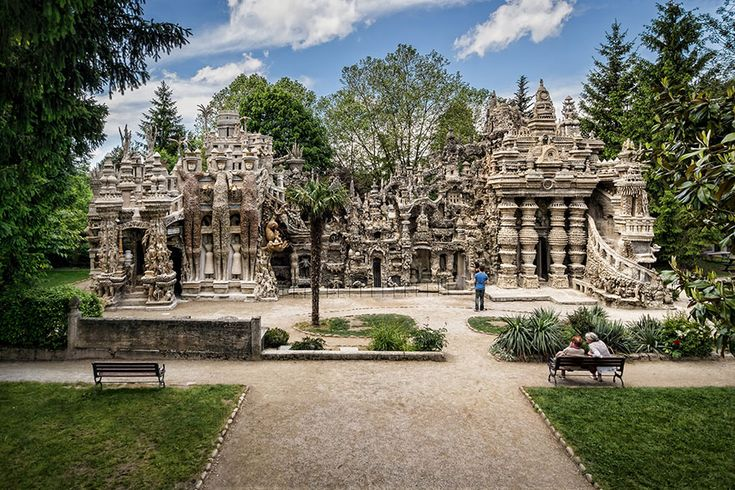 Ferdinand Cheval, a French postman with no formal architectural or artistic training, spent 33 years building this extraordinary structure by cementing together oddly-shaped rocks that he found along his mail route. Reminds me of a Jain temple.