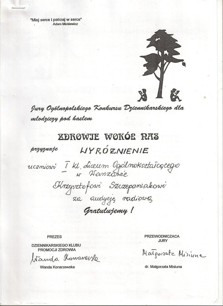 Wyróżnienie dla licealisty w konkursie na audycję radiową o zdrowiu.