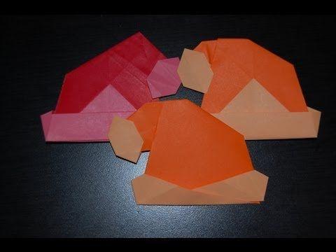 Origami Santa Claus Cap, Hat Videos / 종이접기 산타 모자 접는 방법 동영상 - YouTube