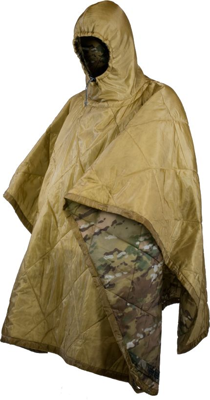 """SMOKE KLOKE PONCHO by 782 GEAR - Tactical; Water RESISTANT; One of the lightest, most versatile INSULATED pieces you will ever carry. Integrated HOOD; Use as a BLANKET! Dimensions: (60"""" W x 80"""" L), with bound edges; Schoeller® NanoSphere® treated 1.1 oz. ripstop nylon shell with 2 oz. insulation; Utility GROMMETS at corners & button HOLES along the sides provide tie out points; REVERSIBLE: Coyote brown/foliage green; or Multicam/Coyote brown - $109.99"""