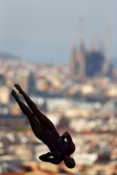 Sarah Barrow of Great Britain competes in the Women's 10m Platform Diving final  on day six of the 15th FINA World Championships at Piscina Municipal de Montjuic on July 25, 2013 in Barcelona, Spain.   #board