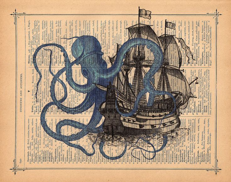 octopus galleon ship canvas wrap blue octopus gallery wrap kraken ship wrapped canvas blue. Black Bedroom Furniture Sets. Home Design Ideas