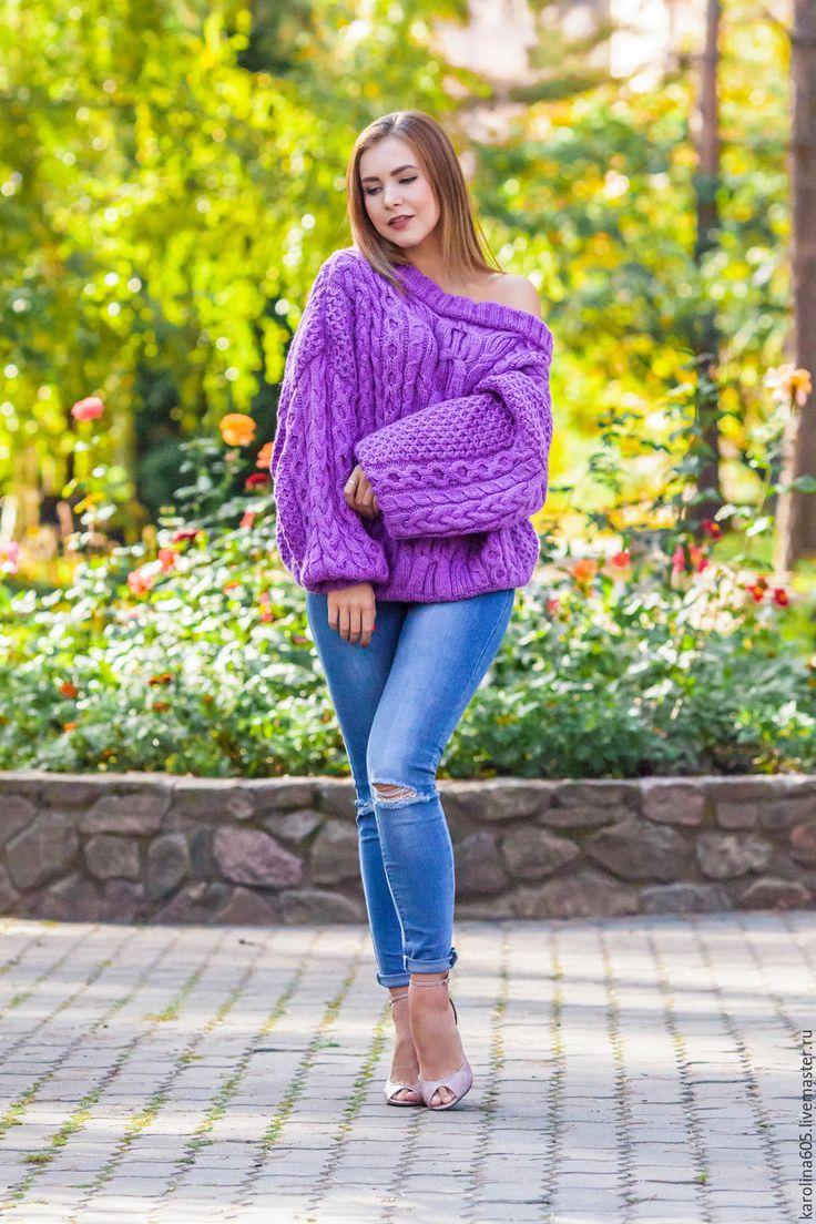 Купить Свитер в стиле Рубан - свитер, свитер вязаный, свитер женский, свитер спицами