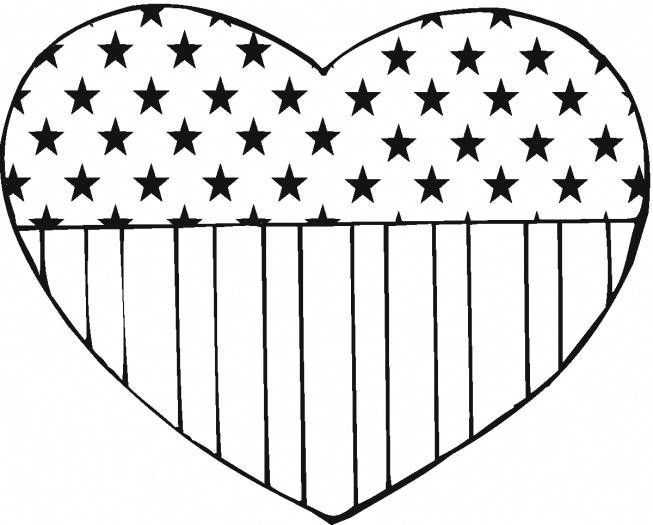 Flag Usa In Heart Shape America Coloring Pages Printable And Book To Print For Free Find More Online Kids Adults Of
