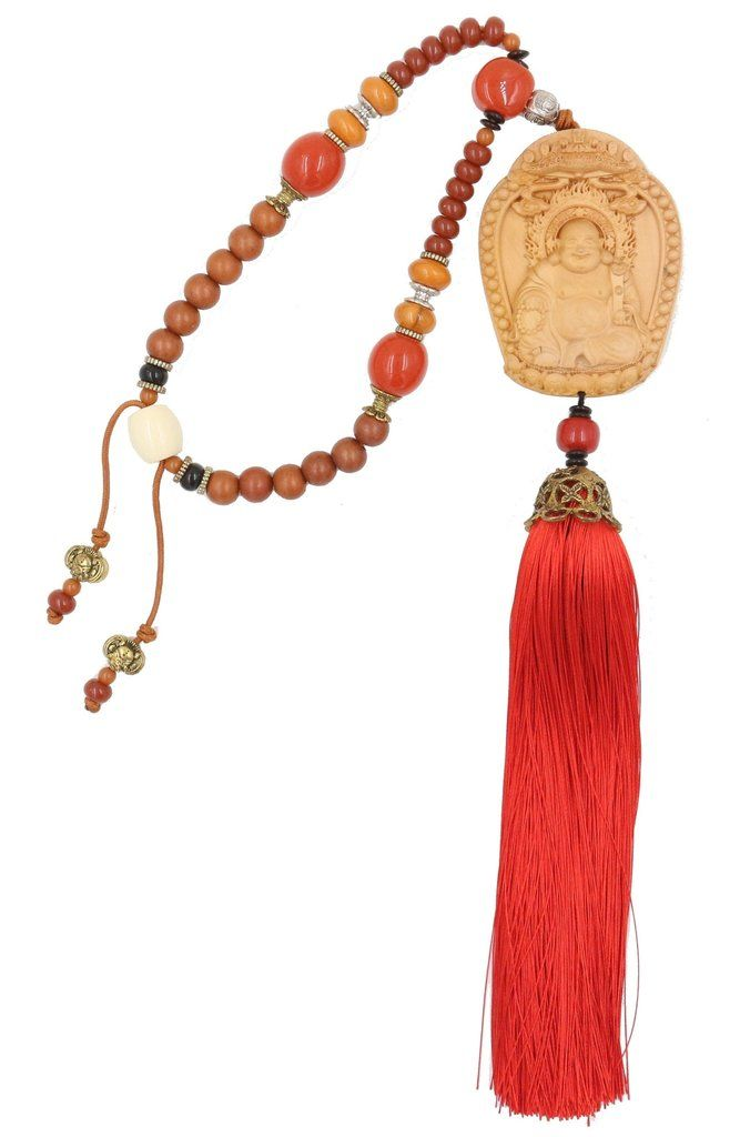 Pendentif-Amulette Feng Shui – Porte Bonheur - Bois de Pin - Bouddha Rieur Budai