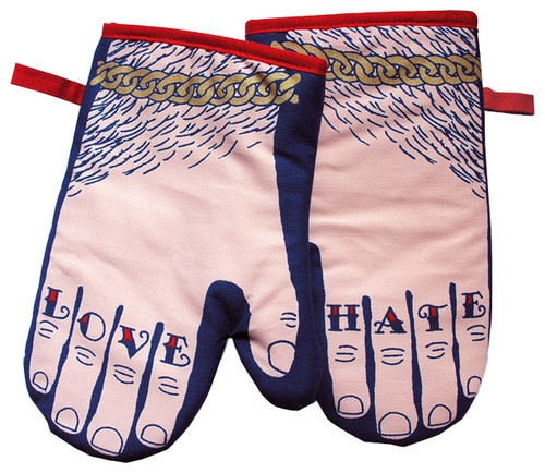 Love / Hate Knuckle Tattoo - Contemporary Oven Mitts And Pot Holders