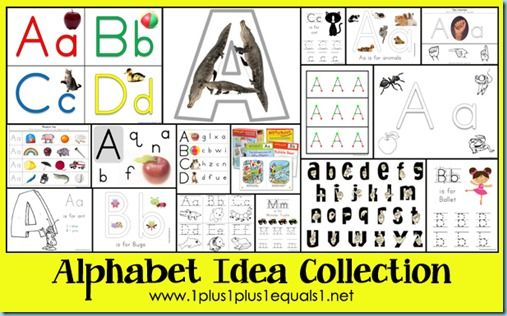 Alphabet Idea Collection...Printables, Apps, and More  from www.1plus1plus1equals1.net