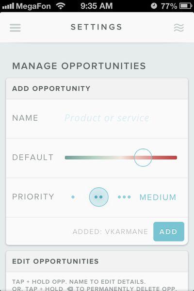 "Hot List ""Manage Opportunities"" app design"