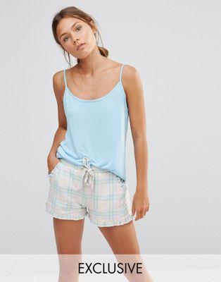Пижамный комплект в клетку с шортами Chelsea Peers