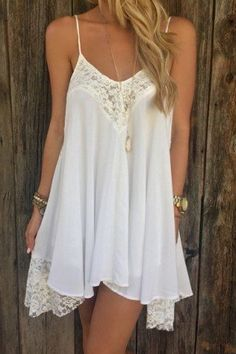 So pretty white lace flowy dress