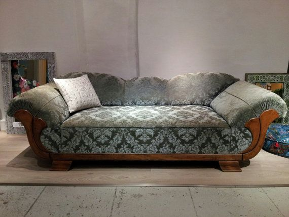 Rare french vintage art deco sofa chaise longue from by for Art nouveau chaise longue