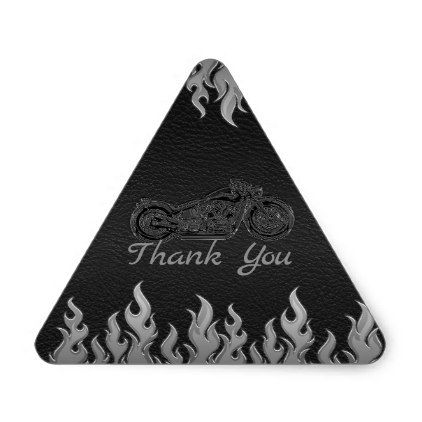 Black Leather Silver Chrome Motorcycle Biker Party Triangle Sticker - shower gifts diy customize creative